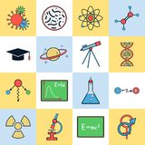 Science flat vector icons Royalty Free Stock Photo