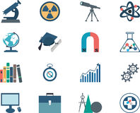 Science flat vector icons Royalty Free Stock Photography