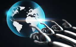 Robot hand touching virtual earth hologram. Science, future technology and progress concept - robot hand touching virtual earth hologram over black background Stock Photo