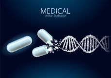Science gene therapy molecular structure medical genome treatment background. Educational logo medicine center. Healthcare. Blue DNA sequence light 3d flat Stock Image