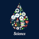 Science. genetics, biochemistry icon. Science icon in shape of drop. Vector icons of genetics and biochemistry objects ,atom, dna, chemicals, microscope, rocket stock illustration