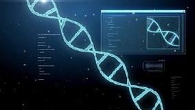 3d rendering of virtual dna molecule over black