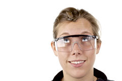 Science Girl 2. Girl in Science class with frog on her face, wearing goggles Stock Photos