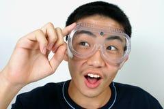 Science guy. Close-up asian guy Stock Photos