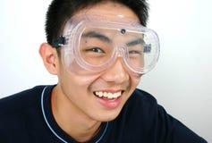 Science guy. Close-up asian guy Royalty Free Stock Photos