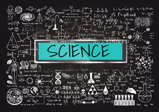 Science. Hand drawn about Mathematics on chalkboard with the world SCIENCE in transparent frame with blue background Royalty Free Stock Photo