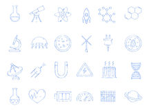 Science handmade icons Royalty Free Stock Image