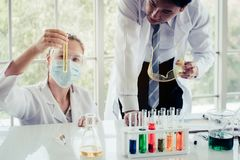 Science health chemical medical concept : scientist analysis che. Mistry liquid tube , selective focus Royalty Free Stock Photo