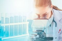 Science health research lab doctor scientist. With microscope stock photography