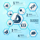 Science hexagon infographic Stock Photo