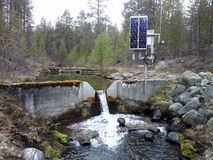 Science. Hydrological research. Measurement of water flow. Science. Hydrological research, hydrological station. Measurement of water flow, flood prevention Stock Images