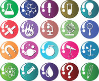 Science icon colorfull vector. Set of science colour icons with reflection and icon in white Stock Image