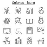 Science icon set in thin line style. Vector illustration graphic design Royalty Free Stock Photography