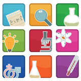 Science icons. Bright science icons with motifs, with clipping masks Stock Images