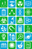 Science icons. Icons depicting various fields and objects of science and scientific work Royalty Free Stock Photo