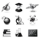 Science icons | B&W series Royalty Free Stock Images