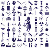 Science icons. Blue icons on a white background on the topic of science and knowledge Stock Photos