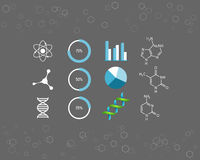 Science icons and chemical element formulas Stock Image