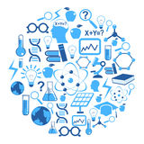 Science icons in circle Stock Image