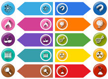 Science icons on colorful labels Stock Photography