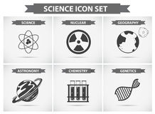 Science icons for different fields of studies Royalty Free Stock Photos