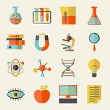 Science icons in flat design style Royalty Free Stock Photo