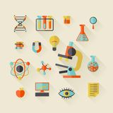 Science icons in flat design style Stock Photo