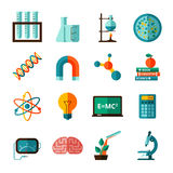 Science icons flat icons set Stock Photos