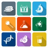 Science Icons Flat Set Stock Photo