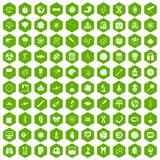 100 science icons hexagon green Stock Photos
