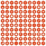 100 science icons hexagon orange. 100 science icons set in orange hexagon isolated vector illustration Stock Image