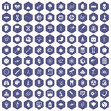 100 science icons hexagon purple Stock Image