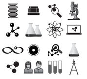 Science icons. Science icon set illustration in black Stock Images