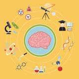 Science icons. Illustrated infographics on science and research, various icons in a flat style Stock Photos