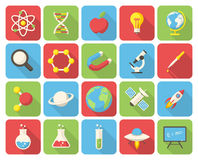 Science icons. Science, modern flat icons with long shadow Stock Photo