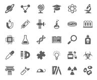 Science, icons, monochrome, vector. Royalty Free Stock Images