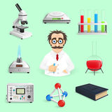 Science Icons Realistic Stock Image
