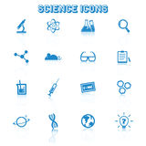 Science icons with reflection. Mono vector symbols Stock Photo