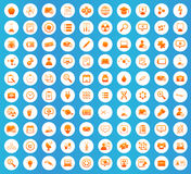 Science icons round set Royalty Free Stock Photos