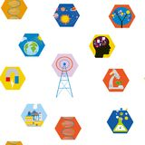 Science icons seamless pattern, cute design. Vector graphic illustration Stock Images