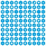 100 science icons set blue. 100 science icons set in blue hexagon isolated vector illustration stock illustration