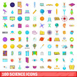 100 science icons set, cartoon style. 100 science icons set in cartoon style for any design vector illustration Stock Photography