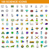 100 science icons set, cartoon style. 100 science icons set in cartoon style for any design vector illustration Royalty Free Stock Image