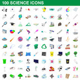 100 science icons set, cartoon style Stock Photos