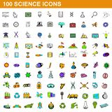 100 science icons set, cartoon style. 100 science icons set in cartoon style for any design illustration vector illustration