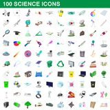 100 science icons set, cartoon style. 100 science icons set in cartoon style for any design illustration stock illustration
