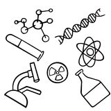 Science icons set. Chemistry vector.. School and university laboratory. Nanotechnology and microbiology concept Royalty Free Stock Photography
