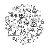 Science icons. Set of doodle science symbols Stock Photos