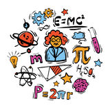Science icons. Set of doodle science symbols Royalty Free Stock Photos