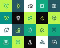 Science icons set. Flat vector illustration